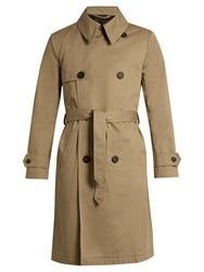 Ami Alexandre Mattiussi Double Breasted Cotton Twill Trench Coat Beige