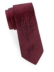 Saks Fifth Avenue Made In Italy Tonal Geometric Silk Tie Red