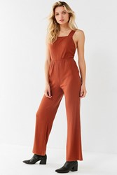 Urban Outfitters Uo Lita Ribbed Knit Apron Jumpsuit Brown
