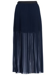 French Connection Coopper Sheer Pleated Maxi Skirt Nocturnal Navy