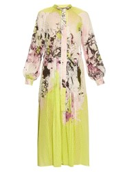 Roberto Cavalli Kimono Floral Print Silk Georgette Dress Yellow Multi