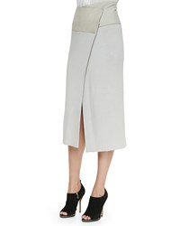 Donna Karan Mid Calf Midi Wrap Skirt With Suede Women's