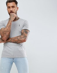 Religion T Shirt With Rolled Sleeve In Grey Marl Grey Marl