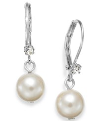 Charter Club Silver Tone Small Crystal Imitation Pearl Drop Earrings