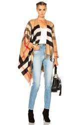 Burberry Collette Merino Wool Cashmere Check Cape In Neutrals Checkered And Plaid Neutrals Checkered And Plaid