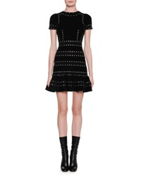 Alexander Mcqueen Grommet Studded Short Sleeve Dress Black