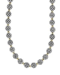Sterling Silver 10Mm Caviar Lattice Ball Necklace 24' Silver Gold Lagos