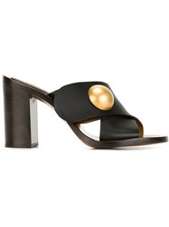 Chloe Crossover Strap Mules Black