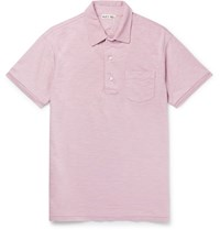 Alex Mill Slub Cotton Jersey Polo Shirt Purple