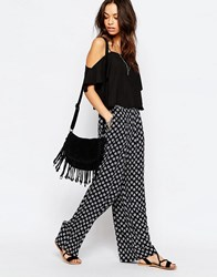 Only Floral Printed Wide Leg Palazzo Pants Night Sky