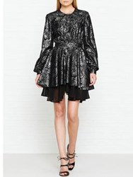 Just Cavalli Lace Layered Long Sleeve Metallic Dress Silver