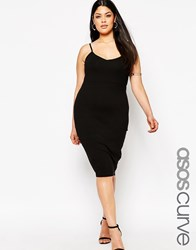 Asos Curve Cami Midi Body Conscious Dress Black