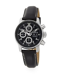 Fortis Flieger Automatic Limited Edition Stainless Steel And Leather Chronograph Watch Black