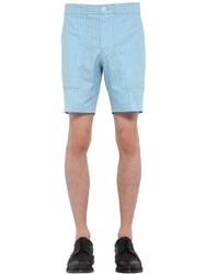 Thom Browne Pinstriped Cotton Cargo Shorts Blue