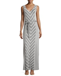 Neiman Marcus Chevron Striped Sleeveless Maxi Dress Heather Gray Cloud
