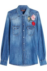 7 For All Mankind Seven Denim Shirt With Embroidery Blue