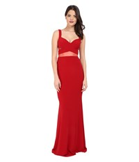 Faviana Jersey Gown W Illusion Cut Outs 7744 Ruby Women's Dress Red