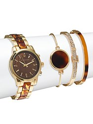Adrienne Vittadini Tortoise Shell Bracelet Watch And Bangle Bracelet Set