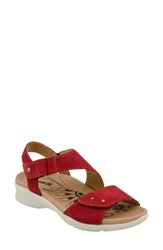 Earthr Women's Earth Peak Sandal Bright Red Soft Buck