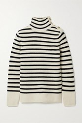 Tory Burch Striped Wool And Cashmere Blend Turtleneck Sweater Ivory