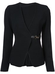 Emporio Armani Buckled Fitted Jacket Black