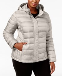 32 Degrees Plus Size Packable Puffer Coat Taupe