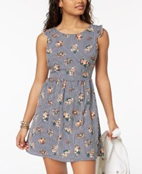My Michelle Juniors' Printed Tie Back Dress Navy Floral Stripe