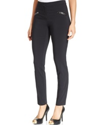 Thalia Sodi Faux Leather Trim Skinny Pants Only At Macy's