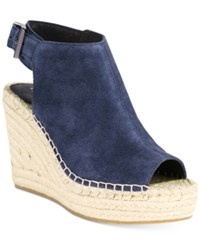Kenneth Cole New York Women's Olivia Espadrille Peep Toe Wedges Women's Shoes Navy