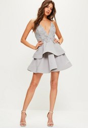 Missguided Grey Lace And Crepe Strappy Plunge Skater Dress