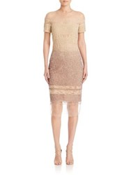 Pamella Roland Signature Sequin Dress Bone Ombre