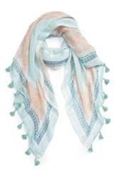 Caslonr Women's Caslon Framed Waves Tassel Scarf Teal Combo