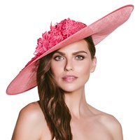 Vixen Millinery Aria Disc And Lace Occasion Hat Raspberry