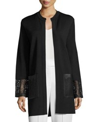 Rani Arabella Long Knit Coat W Leather Trim Black