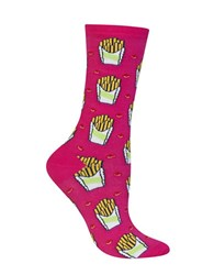 Hot Sox Fries Printed Socks Bright Pink