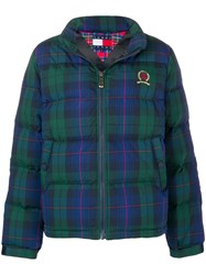 Tommy Jeans Plaid Puffer Jacket Blue