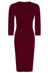Hotsquash V Neck Mock Wrap Thermal Dress Burgundy
