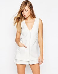 Asos Playsuit With Waistcoat Detail White