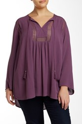 Daniel Rainn Split Neck Long Sleeve Blouse Plus Size Purple