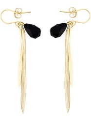 Wouters And Hendrix 'Bamboo' Onyx Earrings Metallic