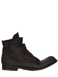 Officine Creative Washed Horse Leather Lace Up Boots