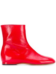 Marni Flat Ankle Boots Red