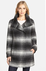 Calvin Klein Plaid Stand Collar Wool Blend Coat Ombre Plaid
