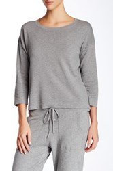 Cullen Double Knit 3 4 Sleeve Crop Sweater Gray