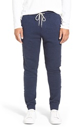Michael Stars French Terry Knit Jogger Pants With Raw Edge Details Navy