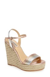 Badgley Mischka Women's Trace Strappy Platform Wedge Sandal Rose Gold Leather
