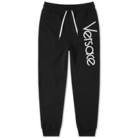 Versace 80S Logo Embroidered Sweat Pant Black