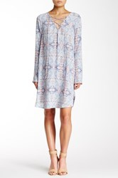 Painted Threads Lace Up Long Sleeve Woven Midi Dress Blue