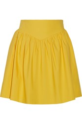Moschino Ruched Cotton Mini Skirt Yellow