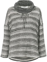 Thakoon Addition Striped Pattern Oversized Sweater Black